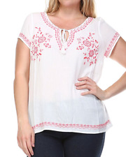 MAURICES WOMEN'S PLUS SIZE WHITE PINK SHORT SLEEVE EMBROIDERED HI-LO TOP Sz 0 0X