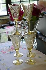 Tiffin Flanders Yellow Glass Needle Etched Poppy Flowers Set of 6