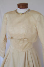 PRISCILLA OF BOSTON Sz 4? 1950's Vintage Pale Gold Shimmery Wedding Dress/Jacket