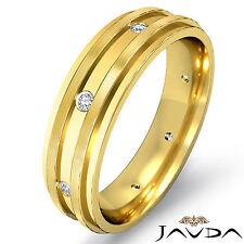 Diamond Eternity Wedding Band 18k Yellow Gold Matt Polish Finish Mens Ring 0.1Ct