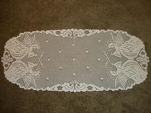Lace Table Runner White  Angel Design   36 x 15
