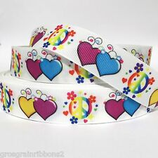 "Grosgrain Ribbon 7/8"" Peace Sign Heart Hearts PC5 100% Printed USA Seller"