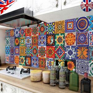 24X Vintage Moroccan Stickers Tile Mosaic Waterproof Self-adhesive Wall Stick UK