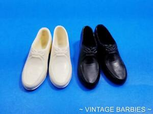 Ken Doll Black & White Rubber Shoes Japan MINTY ~ Vintage 1960's