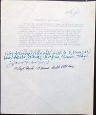 WWII Declaration Of War Transcript Signed By Doolittle, Burke, Van Fleet, Smith