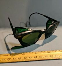 VINTAGE SAFETY GOGGLES  GLASSES GREEN COLOR LENS FRAME STEAMPUNK INDUSTRIAL USA
