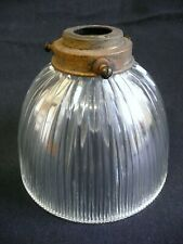 A Vintage 'Ribbed' Holophane Glass Pendant Light Shade.