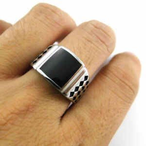 Square Black Onyx 925 Sterling Silver Gothic Handmade Men Ring Silver SZ 9-12.