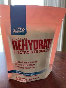Advocare Rehydrate Electrolyte Drink Mix - Berry Lemon Ice Sticks 14 Pack