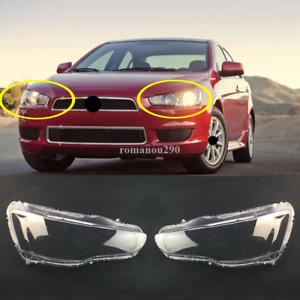 For Mitsubishi Lancer 2010-2015 Left & right Headlight Headlamp Lens Cover 2pcs
