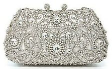 Call4Style Silver Princess Clutch with Sparkling Crystals