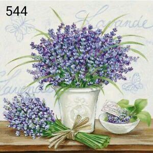 5 x Single Table Paper Napkins,Decoupage/Dining/Craft/Vintage/flowers / levander