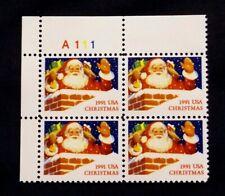 US Plate Blocks Stamps #2579 ~ 1991 CHRISTMAS SANTA 29c Plate Block MNH