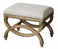 Elegant REGENCY Style Bench Seat Wood Linen Cream White Antique Nailhead Trim