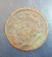 bc9-16. Old Coin From Collection Russia Empire Russland DENGA 1/2 kopeken 1734