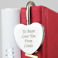 Personalised Silver Heart Bookmark -Free Laser Engraving - Mothers Day Gift