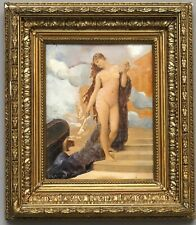 Nude Goddess Aphrodite w Doves at Stairs Vintage Oil in Antique Frame