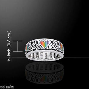 CELTIC HEARTS & KNOTWORK {{SPINNER RING }}  MALACHITE or RAINBOW INLAY