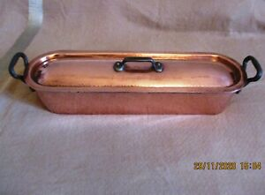 """VILLEDIEU FRENCH COOKWARE HAMMERED COPPER FISH POACHER LINED STEAMER STAMPED 24"""""""