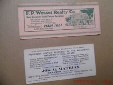 1920s Cincinnati Ohio Realtor Real Estate Realty Co Advertising Ink Blotter Lot