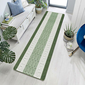 Luxury Large Kitchen Floor Mat Heavy Duty Rugs Anti Slip Green Hallway Runner UK