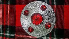 TC traditionnel Highland MOUCHE Plaid Broche 5 RED pierres / kilt écossais