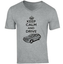 POLISH POLONEZ CARO PLUS FSO KEEP CALM AND DRIVE P - COTTON GREY V-NECK TSHIRT