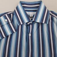 Banana Republic Men's Button Up Shirt Long Sleeve Size Large Striped Blue