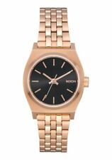 New Women's Nixon Small Time Teller Watch All Rose Gold/ Black Sunray