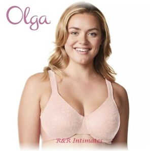 Olga Sheer Leaves Lace Full-Coverage Minimizer Bra, #35519, Rosewater, 40C