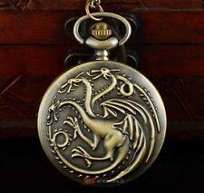 Dragon Game of Thrones Targaryen Bronze Pocket Watch Pendant + Free Gift