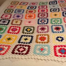 """VERY PRETTY HAND CROCHETED AFGHAN! COLORFUL SQUARES! 60"""" X 45"""" VERY NICE!"""