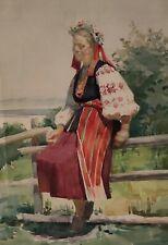 Aquarell Frau Tracht Slawisch Sorbisch Ukrainisch