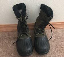 Men's * SOREL Black KAUFMAN Lined STEEL SHANK Duck Winter / Work BOOTS - SIZE 8