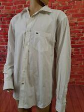 Lacoste Designed in France Men's Regular Fit Long Sleeve Shirt, White, Size 45