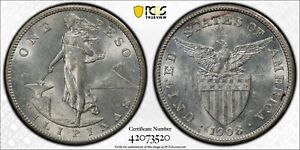 1908 S US PHILIPPINES ONE PESO PCGS MS 61