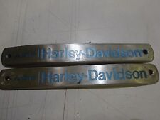 PAIR VINTAGE HARLEY-DAVIDSON / AMF GAS TANK EMBLEMS WITH UNUSUAL BLUE/GREEN LOGO