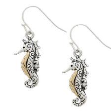 Two Tone Metal Seahorse Fashionable Earrings - Vine Filigree - Fish Hook