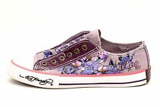 Ed Hardy Women's Tattoo Inn Purple Butterflies Canvas Sneakers Shoes Size 7