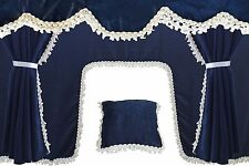 BLUE Truck Set Curtains Pelmets for MERCEDES VOLVO RENAULT IVECO DAF MAN SCANIA