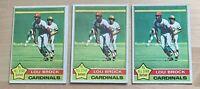 LOU BROCK  (3) Card Lot 1976 Topps NL All Star St. Louis Cardinals Card #10