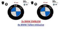 2X Original BMW Emblem Motorhaube 82mm inkl.Tüllen E30  E34 E36 E39 E60 E61