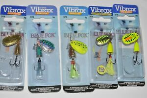 5 lures spinners blue fox size 2 vibrax 3/16oz assortment bass trout lures