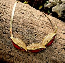 Trifari gold with red enamel leaf necklace, vintage 1960's bib style