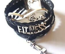 GYM Rope Braided Infinity Love FITNESS Bracelet w Weight charm -all black