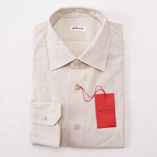 NWT $795 KITON NAPOLI Beige Jacquard Pattern Cotton Shirt 16 x 36 Modern-Fit