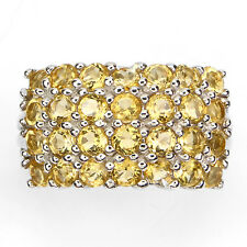4 ROWS NATURAL ROUND 3mm RICH YELLOW CITRINE STERLING 925 SILVER BAND RING SZ8.5