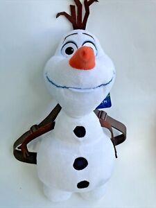 "Olaf Frozen Disney Plush Backpack Purse Snowman 18"" NEW NWT adjustable straps"