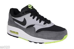 Nike Air Max 1 GS Junior Kids Boys Running Sports Shoes Trainers - Grey & Black