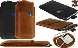 SLIM PULL-UP CASE WITH CARD POCKET GENUINE LEATHER SLEEVE POUCH FOR MOTOROLA